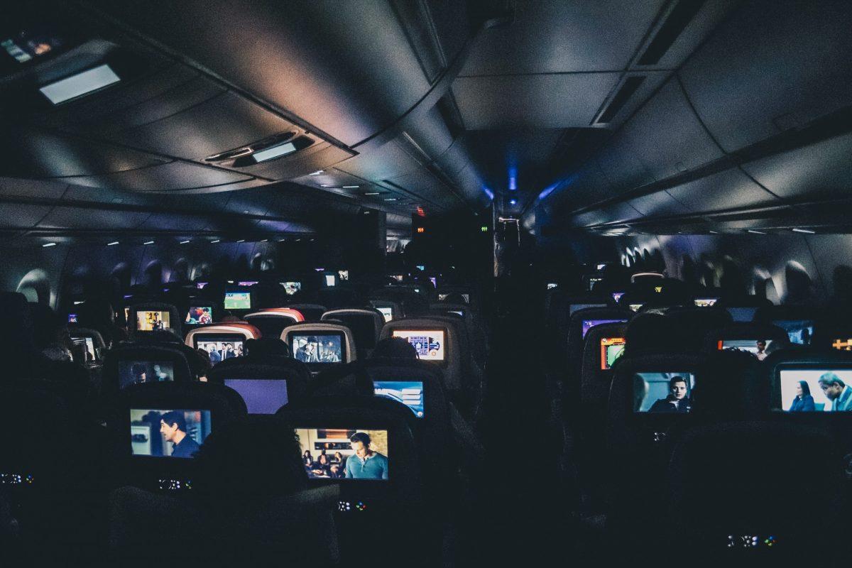 aeroplane seats on a night flight